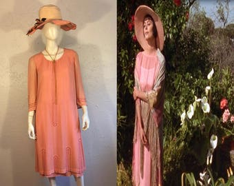 Lady Caroline Dester's Enchantment - Vintage 1920s Salmon Pink/Peach Silk Chiffon Beaded Silk Day Dress - 4/6