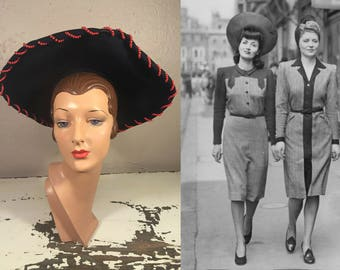 Stylish Munition Gals - Vintage WW2 1940s Navy Felt Halo Tall Tower Wide Brim Hat w/Red Beads