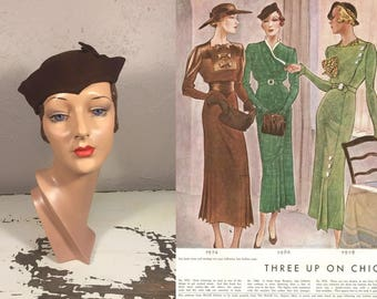 Off In the Distance She Stares - Vintage 1930s Espresso Brown Wool Felt Slouch Calot Hat