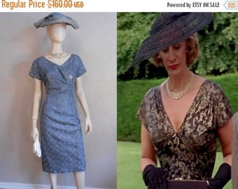 Anniversary Sale 35% Off Anne Protheroe Has an Affair - Vintage 1950s Slate Blue Rayon Embroidered Cocktail Dress - 14/16