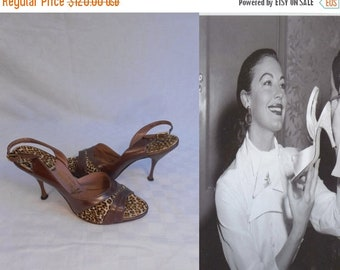 Anniversary Sale 35% Off The Roar of Her Laughter - Vintage 1950s Leopard Print & Brown Pearlized Leather D'Orsay Stilettos - 7M
