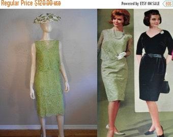 Anniversary Sale 35% Off Apple Blossom Events - Vintage 1960s Crisp Apple Green Lace Tiered Sheath Dress  - 4