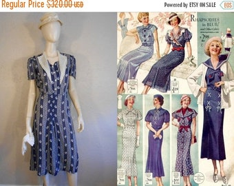 Anniversary Sale 35% Off I've Got What It Takes - Vintage 1930s Navy Cotton Pattern Lightweight Day Dress  - 12/14