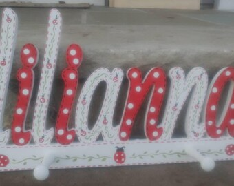 Custom Kids Name Sign Peg Rack - Lady Bug Style  Name Sign with Coat Rack- Custom Children's Shabby Chic Name Plaque 6 Letters