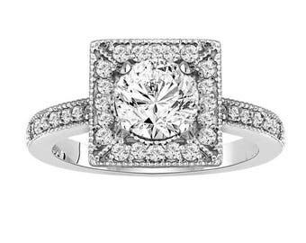 10% ON SALE Diamond Engagement Ring 1.33 Carat 14K White Gold Halo Handmade Certified