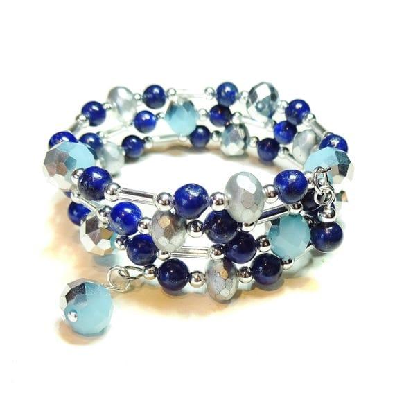 Gemstone Blue Lapis Lazuli & Czech Glass Wrap Bangle