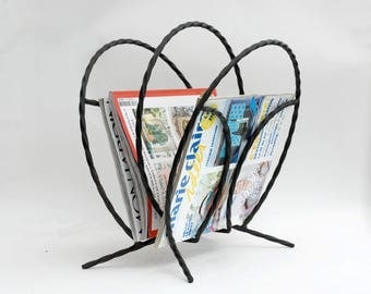 Magazine holder metal, Magazine rack, Wrought iron newspaper holder rack, Vintage decor.