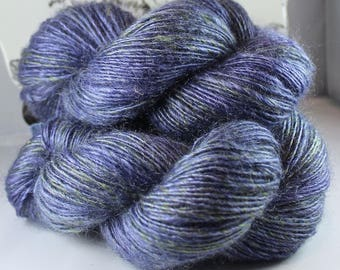 Handspun Yarn Gently Thick and Thin DK Single Natural Kid Mohair and Wool and Mohair 'Magic Mist' 2 Skeins