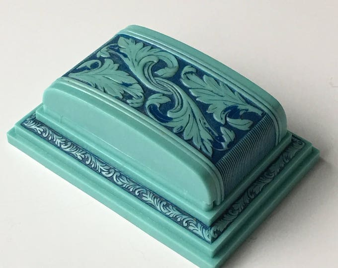 Vintage Double Ring Box Turquoise Blue Wedding Engagement Ringbox Jewelry Presentation