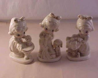 3 Porcelain Little Girl Figurines