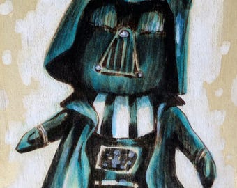 Darth Vader star-wars original watercolors,markers on wood panel comics art marvel art,comics poster,marvel children dc universe,home decor