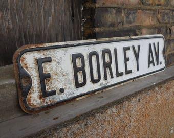 Vintage Street sign E BORLEY AV. Industrial Embossed letters road salvage Black & White 24 inch