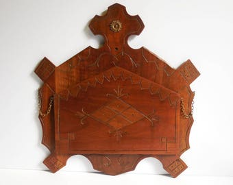 Antique wall Rack book holder music sheets  Wood tramp art Cathedral Cross carved wood Brass embellishment fold down