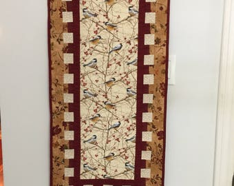Chickadees and berries quilt wallhanging or Table Runner