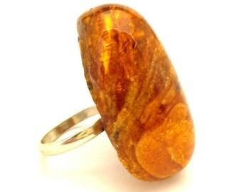 Amber Baltic Ring Antique Genuine 10.14 Gr Silver 925 Cognac Color (AQ336)
