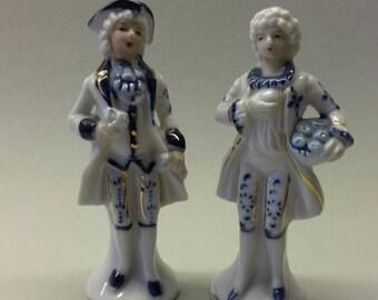 Porcelain Figurine Pair Two Man Vintage France Wonderful Condition