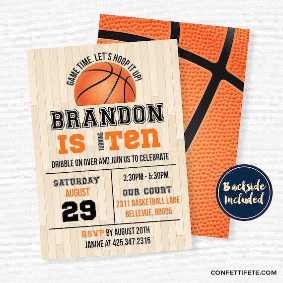 Basketball Birthday Invitation Basketball Party Invitations Sports