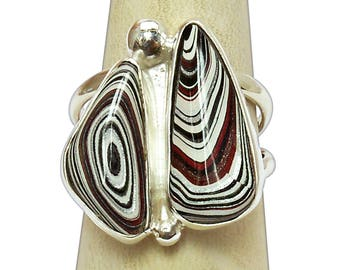 Fordite and Sterling Silver Two Stone Statement Ring, Size 7-1/2  r75frdh2823