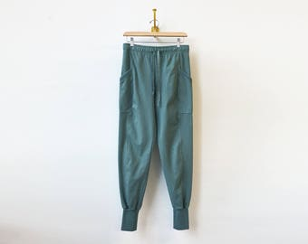 Baggy Cargo Sweats   Skinny Jogger Style   Eucalyptus Green Pants   Cargo Pockets   Relaxed Fit   Cotton Sweats   Athleisure Workout Pants