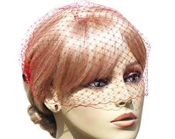 Red Birdcage Veil- Red Crystal Wedding Veil- Rhinestone Embellishments