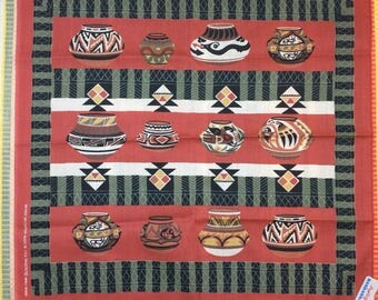 deadstock 1980's large novelty bandana 22x22 Native American Indian pottery navajo print southwest souvenir made in USA selvedge NOS nwt #74