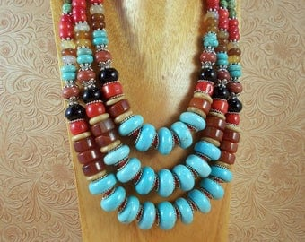Statement Necklace Set - Chunky Turquoise Howlite - Carnelian - Coral - Black Agate - Tribal - Gypsy Cowgirl