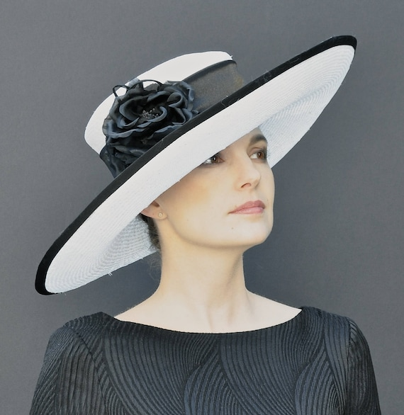 Kentucky Derby Hat, Wedding Hat, Church Hat, Wide Brim Hat, Black and White Hat, Formal Hat  Ascot Hat, Special Occasion Hat