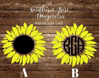 Sunflower Decal Etsy