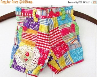 MOVING SALE Preppy Patchwork Shorts ,Eco Upcycled Patchwork Plaid and Floral Bright Colors,Vintage Needlepoint & lace Patch by Hollywood Hil