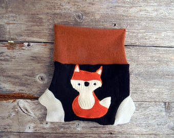 Upcycled  Merino Wool Soaker Cover Diaper Cover With Added Doubler Black/ Cream /Orange With Fox Applique SMALL 3- 6M Kidsgogreen
