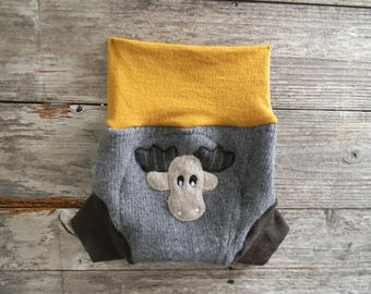 Upcycled Wool Soaker Cover Diaper Cover With Added Doubler Gray/ brown/ Mustard With Moose Applique LARGE 2-24M