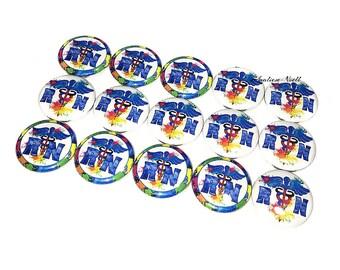 """Nurses, RN, Blue, 1"""", Button, Nurse Button, Nurse Pin, Nurse Flatback, Nurse Badge, Nurse Theme, Nurse Decor, Watercolor, Nurse Party Favor"""
