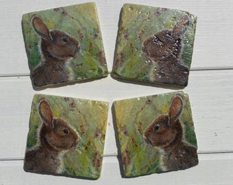 Bunny Rabbit Set of 4 Tea Coffee Beer Coasters