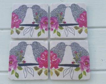 Floral Love Birds Coaster Set of 4 Tea Coffee Beer Coasters