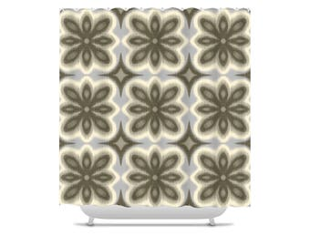 Floral Shower Curtain, brown shower curtains, Ikat shower curtain, flower pattern, bathroom decor, bath curtain, tan, gray