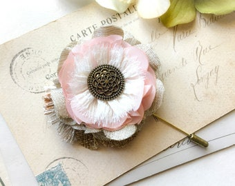 Rustic Boutonniere, Lapel Pin, Groom Boutonniere, Pin for Suit, Burlap Fabric Flower, Pink Corsage, Groomsmen Accessory, Floral Stick Pin