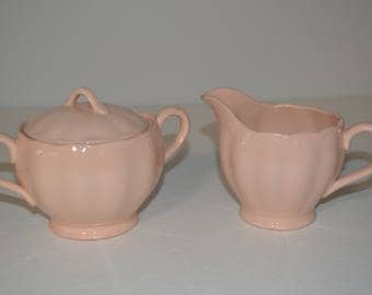 Vintage Grindley Peach Petal Ware Cream and Covered Sugar bowl Excellent England