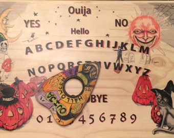 EHAG Original Design Halloween Ouija Board With Hand Painted Planchette For Unique Witch Decor Black Cat Free Shipping USA