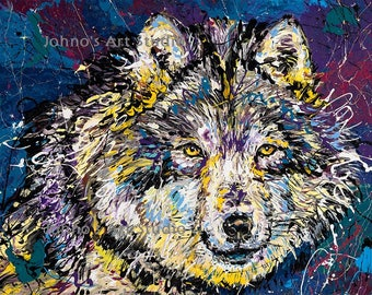 Wolf art, Wolf print, Wolf wall art, modern wall art,wildlife art, Pittsburgh artist, by Johno Prascak, Johnos Art Studio