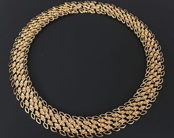 Monet Gold Choker, Vintage Jewelry, Monet Jewelry, Vintage Necklace, Gold Collar Necklace, Adjustable Monet Necklace Mid-Century Mesh Choker