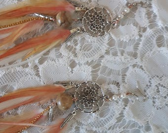 Coral yellow and cream feather earrings