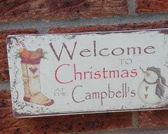 Personalized christmas wooden sign plaque names couples family name snowman shabby chic