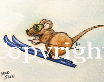 Mouse Olympics-Skiing ACEO/ATC/SFA Winter Olympics Artwork-Ski Jumping Mouse Competes in Winter Games-Ltd Edition Print of Original Painting