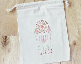 DREAM CATCHER - Stay Wild Personalized Favor Bags - Set of 10 - Baby shower - Wild One