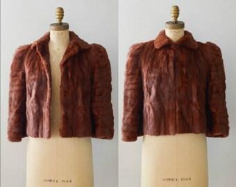 Vintage 1940's Brown Ermine Fur Cropped Jacket