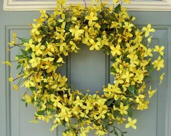 Spring Wreath - Spring Forsythia Wreath - Spring Door Wreath