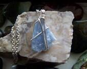 Light Blue Angelite Raw Gemstone Crystal Pendant
