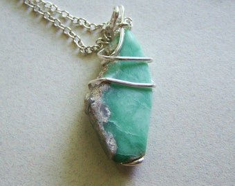 Natural Light Green Variscite Wire Wrapped Pendant