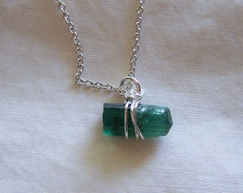 Indicolite Tourmaline Raw Gemstone Crystal Pendant