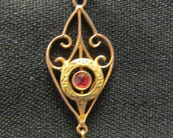 On Sale Delicate Art Deco 10K Ruby and River Pearl Lavaliere Pendant